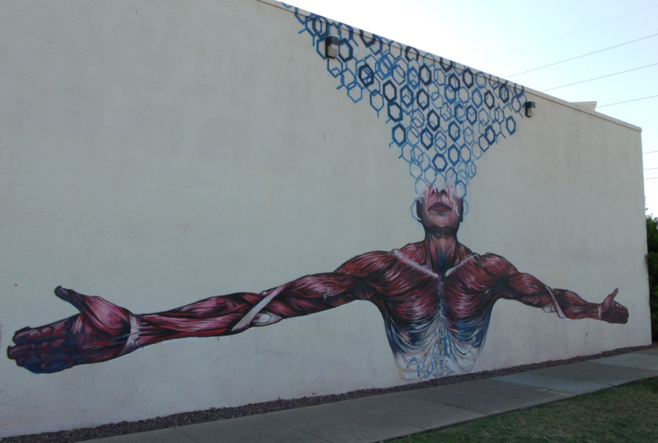 Muscle man mural of Roosevelt Community Church