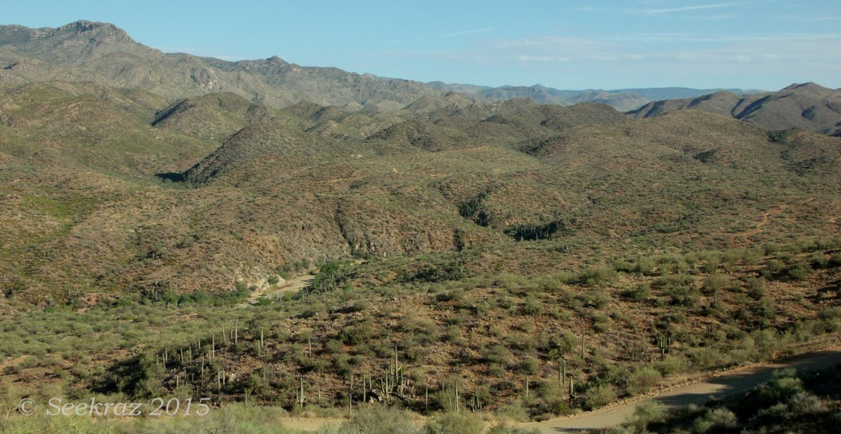 Bradshaw Mountains with tracks and trails and river-beds