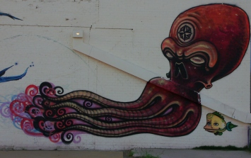 Squid and fish in Find Your Direction mural