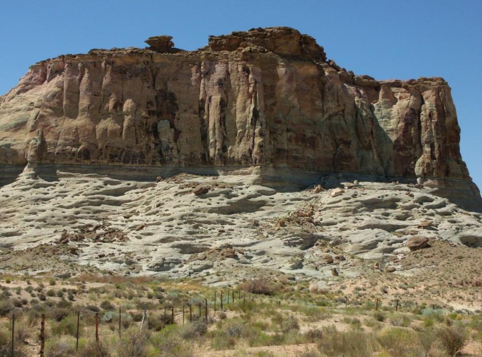 White sand-stone monolith, north of Lake Powell, just inside Utah border on Highway 89