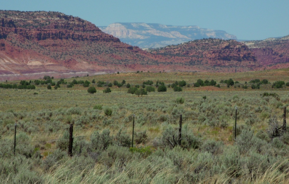 White mesa behind rose mesa, east of Kanab, Utah