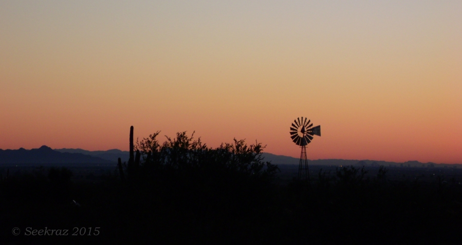 Dawn with windmill at White Tank Mountains