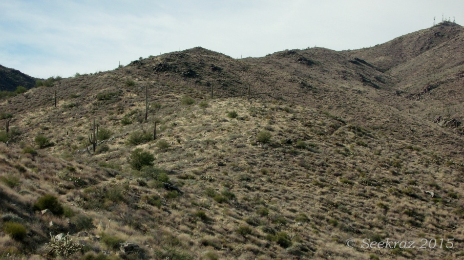 Desert mountainside trail with panoramic view
