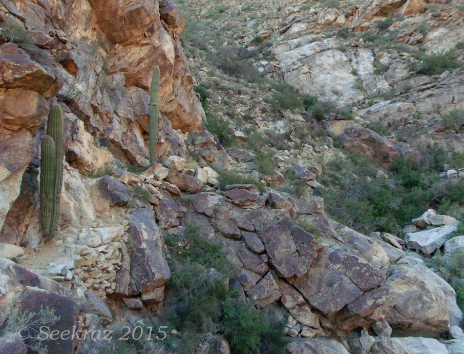 Hazardous trail in Ford Canyon of White Tank Mountains