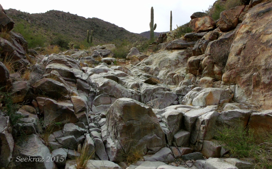 Stream-bed crossing of Goat Camp Trail in White Tank Mountains