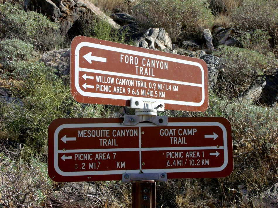 Trail junction in White Tank Mountains