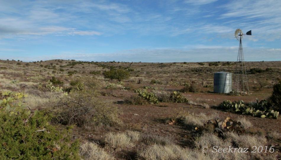 Windmill and open plain along Drinking Snake segment of Black Canyon Trail