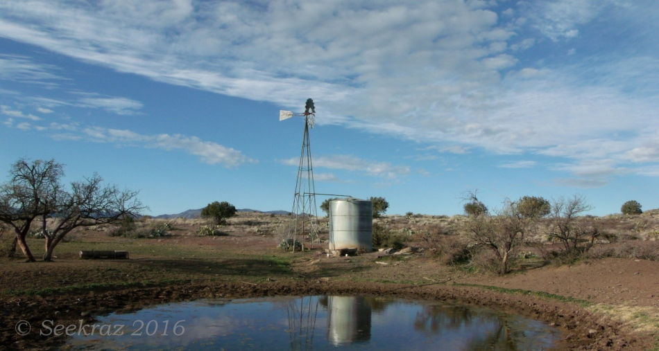 Windmill and watering-hole along Drinking Snake segment of Black Canyon Trail