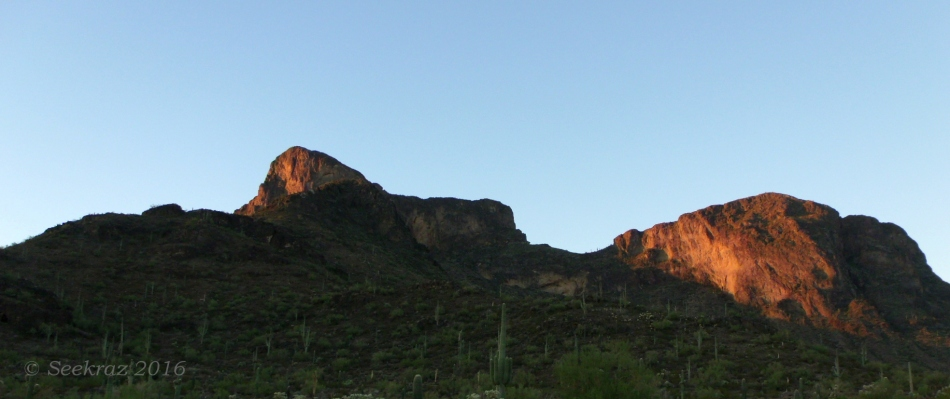 Picacho Peak sunrise from the state park's entrance gate