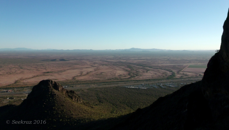 Approaching the saddle of Picacho Peak, looking southeast from the north side