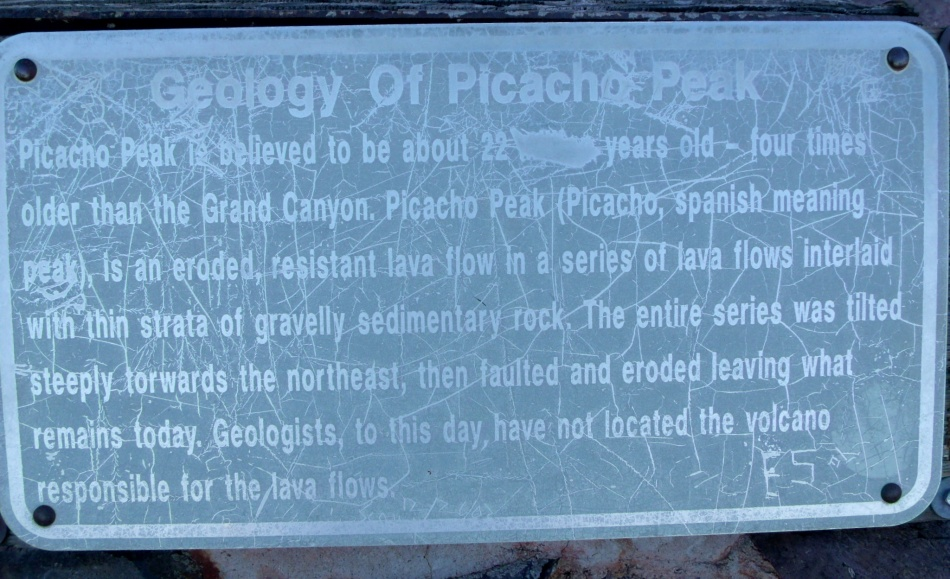 Placard at saddle of Picacho Peak