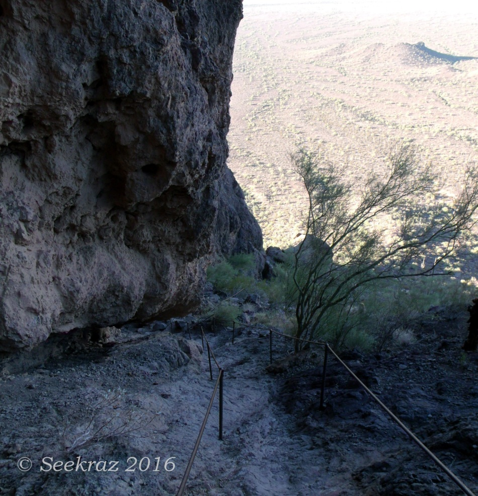 Double cable handrails heading down from the saddle on Picacho Peak