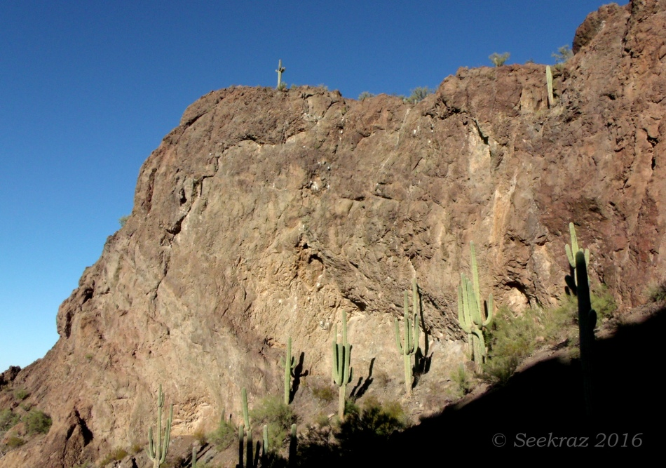 Western wall of arena on south side of Picacho Peak