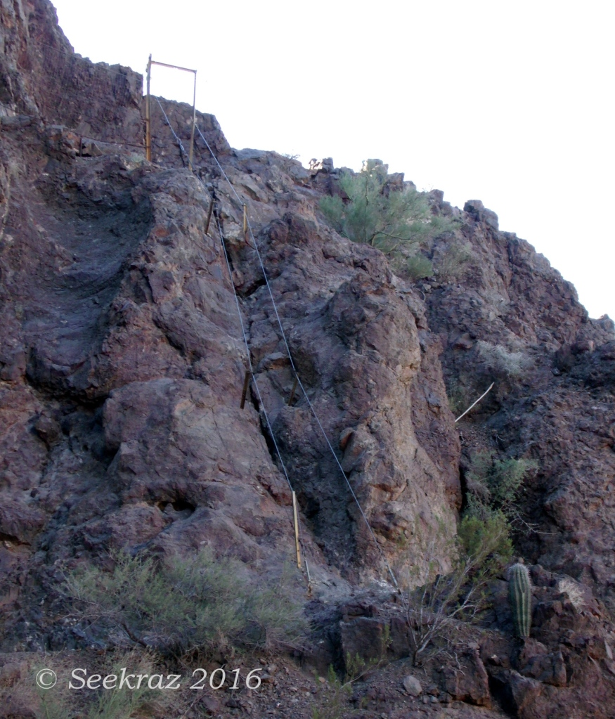 Double cable handrails approaching summit plane of Picacho Peak