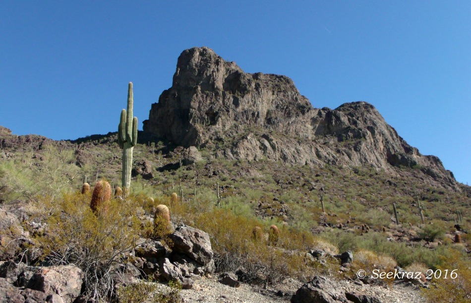 Picacho Peak massif viewed from the west on Sunset Vista trail