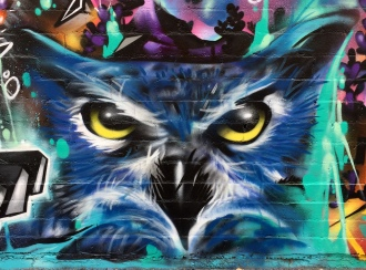 Fernando's Alignment mural -closeup-owl