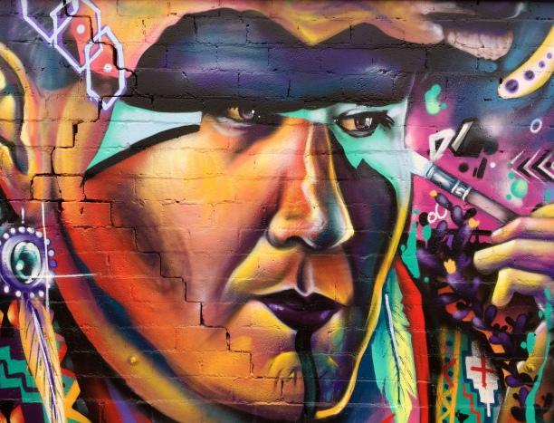 Fernando's Alignment mural -closeup-warrior
