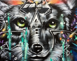 Fernando's Alignment mural-closeup-wolf