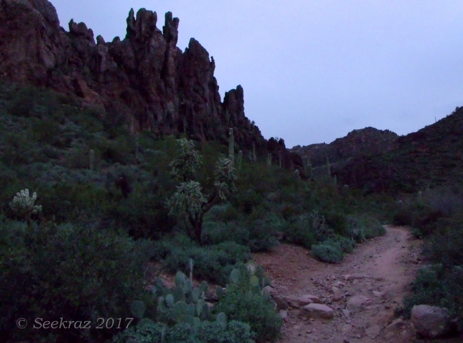 Starting on the Peralta Trail just before sunrise