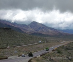 Mountains and low clouds on Route93