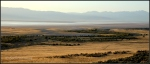 Eastern shore of Antelope Island in Great Salt Lake at sunrise with Wasatch Mountains inbackground