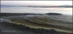 Great Salt Lake mud art from Antelope Island causeway atsunrise